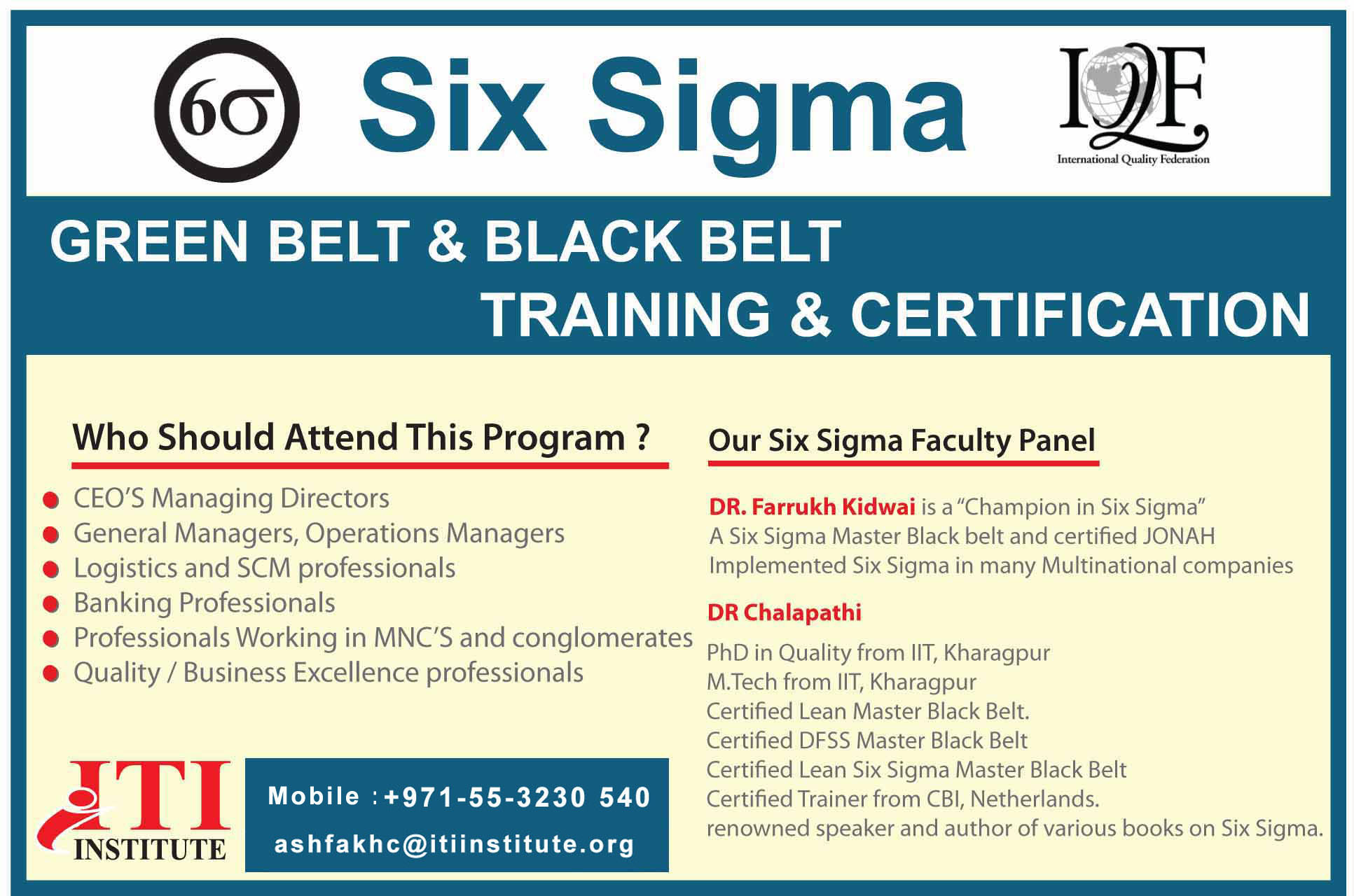 Six Sigma Green belt/ Black belt training in Dubai